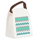 Chevron stripes turquoise Lunch Bags