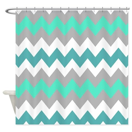 Shades Of Blue Chevron Shower Curtain By Chevroncitystripes