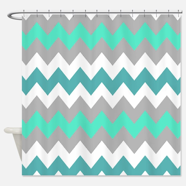 Aqua Chevron Shower Curtains