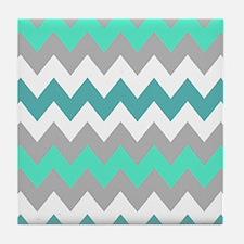 Shades of Blue Chevron Tile Coaster