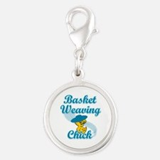 Basket Weaving Chick #3 Silver Round Charm