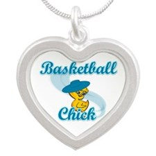 Basketball Chick #3 Silver Heart Necklace