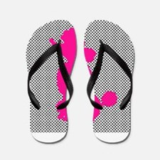 Hot Pink Poodle on Black and White Dots Flip Flops