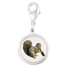 Squirrel Beer Hat Silver Round Charm