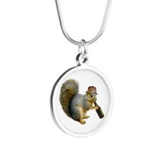 Squirrel Beer Hat Silver Round Necklace