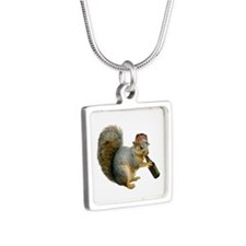 Squirrel Beer Hat Silver Square Necklace