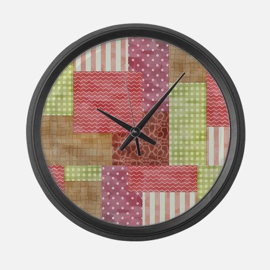 Trendy Patchwork Quilt Large Wall Clock