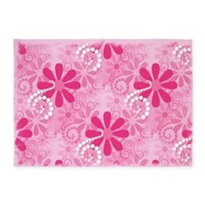 Girly Pink Retro Flowers 5'x7'Area Rug