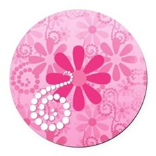 Girly Pink Retro Flowers Round Car Magnet
