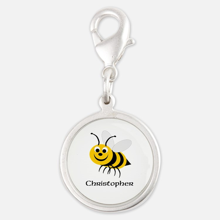 Bee Silver Round Charm