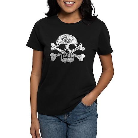 Worn Skull And Crossbones Women's Dark T-Shirt