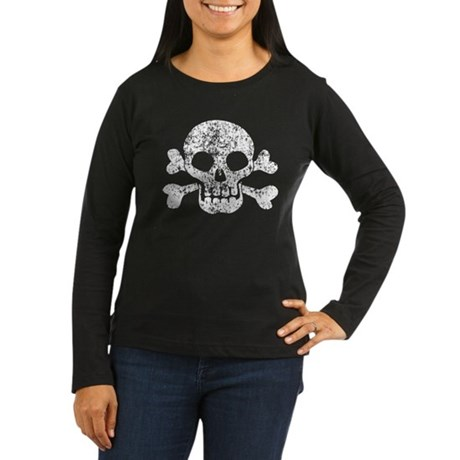 Worn Skull And Crossbones Women's Long Sleeve Dark