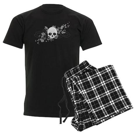 Skull With Splatters And Swirls Men's Dark Pajamas