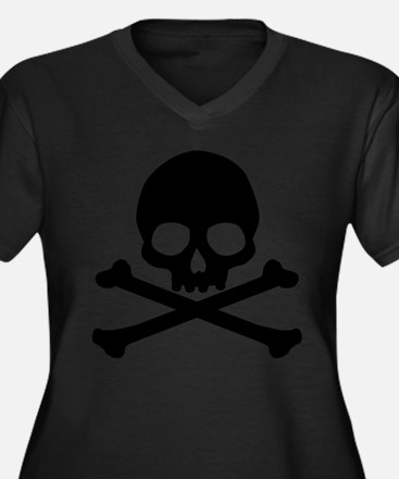 Simple Skull And Crossbones Women's Plus Size V-Ne