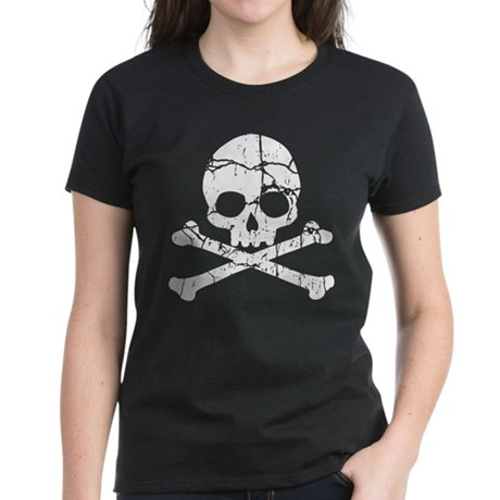 Crackled Skull And Crossbones Women's Dark T-Shirt