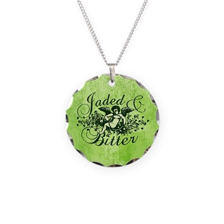 Jaded And Bitter Cherub Necklace Circle Charm