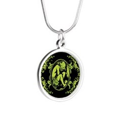 Weeping Cherub Green Silver Round Necklace
