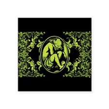 "Weeping Cherub Green Square Sticker 3"" x 3"""