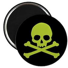 Green Skull And Crossbones Magnet