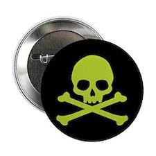 "Green Skull And Crossbones 2.25"" Button"