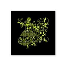 "Green Skull Dancer Square Sticker 3"" x 3"""
