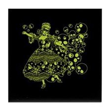 Green Skull Dancer Tile Coaster