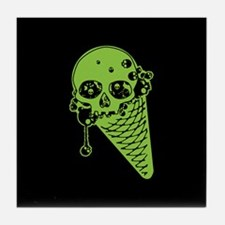 Skull Poison Ice Cream Cone Tile Coaster