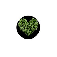 Green Skull Heart Mini Button