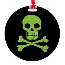 Skull And Crossbones Green Ornament