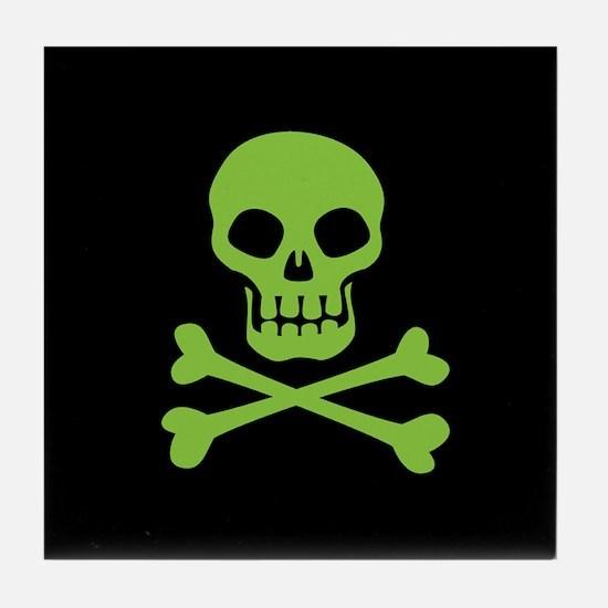 Skull And Crossbones Green Tile Coaster