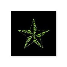 "Green Skull Pattern Star Square Sticker 3"" x 3"""