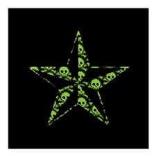 "Green Skull Pattern Star Square Car Magnet 3"" x 3"""