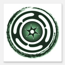 """Green Hecate's Wheel Square Car Magnet 3"""" x 3"""""""