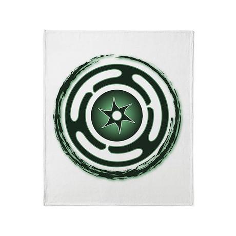 Green Hecate's Wheel Throw Blanket