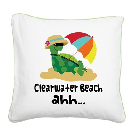 Clearwater Beach Turtle Square Canvas Pillow