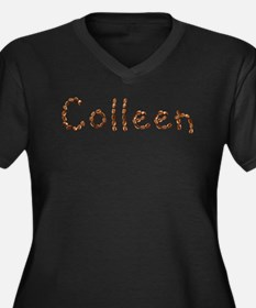 Colleen Coffee Beans Women's Plus Size V-Neck Dark