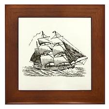 Vintage Sail Ship Framed Tile