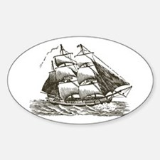 Vintage Sail Ship Sticker (Oval)