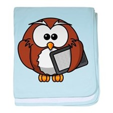 Owl With Tablet baby blanket