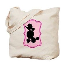 Black and Pink Poodle Silhouette Tote Bag