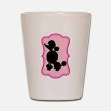 Black and Pink Poodle Silhouette Shot Glass