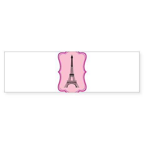Eiffel Tower on Pink Flourish Sticker (Bumper)