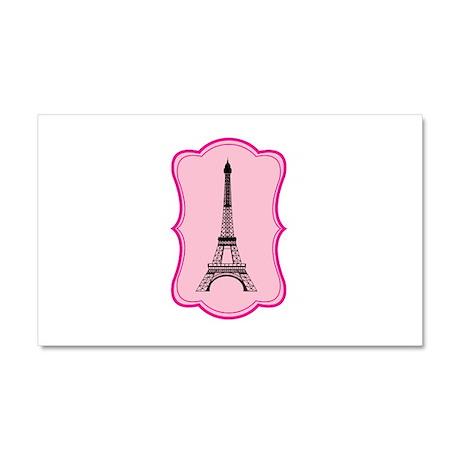 Eiffel Tower on Pink Flourish Car Magnet 20 x 12