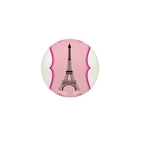 Eiffel Tower on Pink Flourish Mini Button