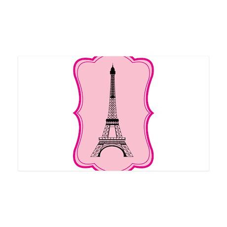 Eiffel Tower on Pink Flourish 35x21 Wall Decal