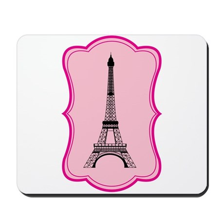 Eiffel Tower on Pink Flourish Mousepad