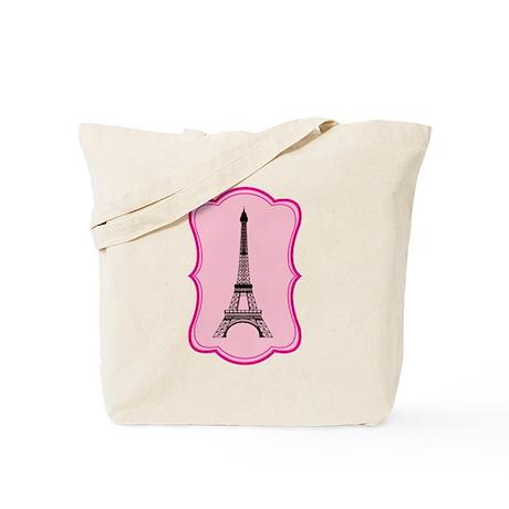 Eiffel Tower on Pink Flourish Tote Bag