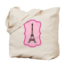 Eiffel Tower on Pink Flourish Tote Bag
