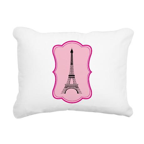 Eiffel Tower on Pink Flourish Rectangular Canvas P