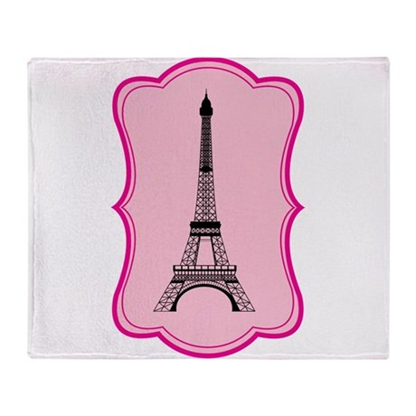 Eiffel Tower on Pink Flourish Throw Blanket